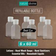 Pack of 6 Transparent Refillable Pocket Size Empty Plastic Liquid Dispenser...