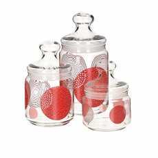 Glass jar,3 piece,Luminarc Constellation Red Pot Club 3pcs Air Tight Glass...