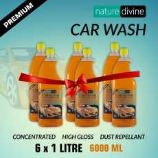 Pack of 6 Nature Divine Concentrated Premium Car Wash Shampoo 1 Litre (1000 ml)