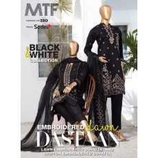 MTF* *Black & white embroidered lawn collection2021* *Dastan*