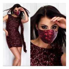 Face Mask sequin maroon