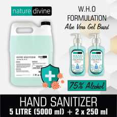Pack of 2 x 250 ml and 5 Litre Nature Divine Aquatic Hand Sanitizer - 75%...