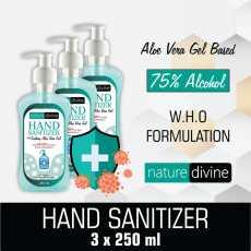 Pack of 3 Nature Divine Aquatic Hand Sanitizer - 75% Alcohol with Aloe Vera...
