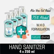 Pack of 4 Nature Divine Aquatic Hand Sanitizer - 75% Alcohol with Aloe Vera...