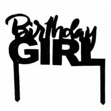 Cake Topper Birthday Girl Black (1 Pcs)