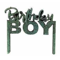 Cake Topper Birthday Boy Silver (1 Pcs)