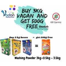 Vadan Detergent Washing Powder buy 3kg n Get 500g Shadab Washing Powder free