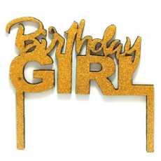 Cake Topper Birthday Girl Golden (1 Pcs)