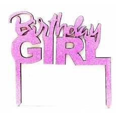 Cake Topper Birthday Girl Pink (1 Pcs)