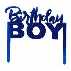 Cake Topper Birthday Boy Blue (1 Pcs)