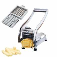 Stainless Potato Chipper French Fries Slicer Chip Cutter Maker Chopper 2 Blades