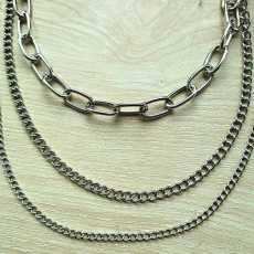 Trendy hip-hop punk chain three layers modern jewelry, Stylish 3 Layers Waist...