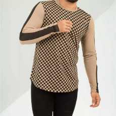 PZ Full Sleeves Light Brown Check Strip Tshirt For Men