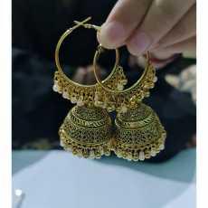 1 Pair Indian Golden Bali Pearl jhumka Earrings for Girls and Women Pearl...