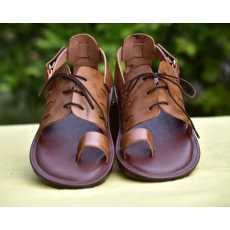 ZES-4007 leather lace-up Sandals