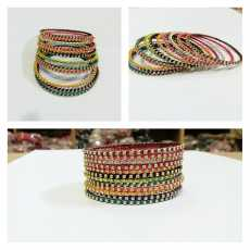 Hand Made Glass Chain Wrapped with Colorful Threads Bangles