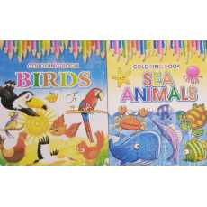 Pack of 2- Coloring Books of Beautiful Birds and Sea Animals