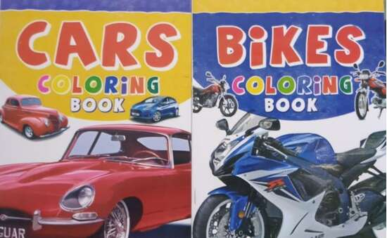 Pack of 2- Coloring Books of Beautiful Cars and Bikes (Multiple Models of...
