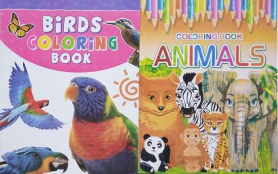 Pack of 2- Beautiful Coloring Books Animals & Birds