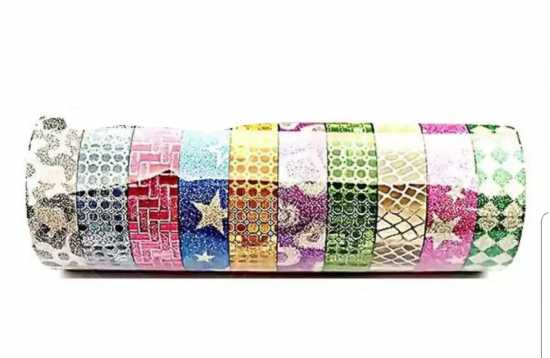Pack of 10 - Glitter Packaging Tape for Decoration