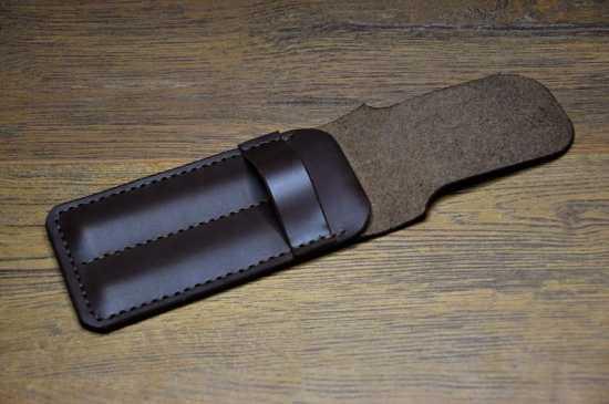 Stylish luxury leather pen case leather pen pouch | pen holder in black color