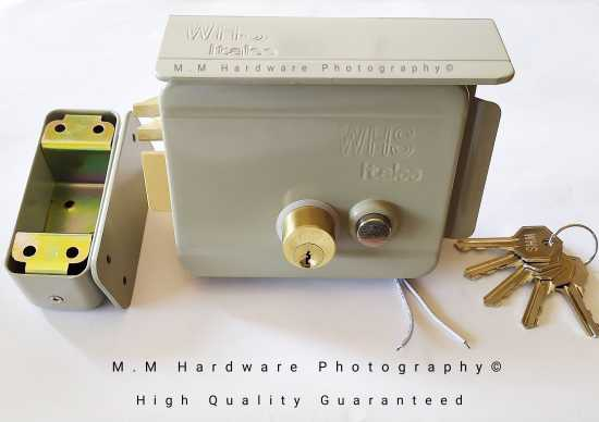 """"""" Electric """" Main Gate Lock Heavy Duty High Security Double Cylinders 5 Brass..."""