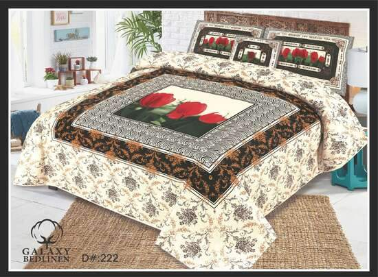KING SIZE BED SHEET WITH 2 PILLOW COVERS (COTTON FABRIC)