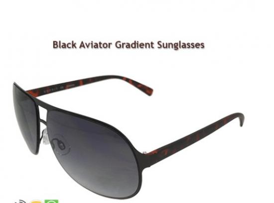 Black Aviator Gradient Sunglasses