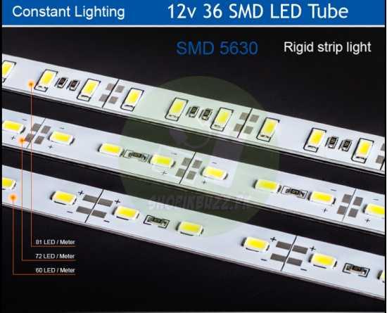 12v 18/36 Smd Super Bright Transparent/Shaded Led Tube Light
