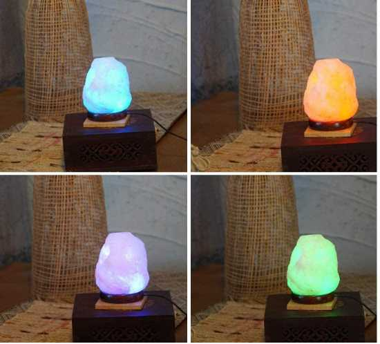 LED USB Himalayan Natural Salt Lamp with Wood Base, Multi Color Changing in 7...
