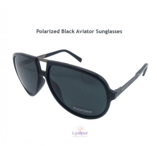 Polarized Black Aviator Sunglasses