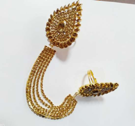 Double Finger Ring Golden Chain Look for Girls and Women Fashion Jewellery