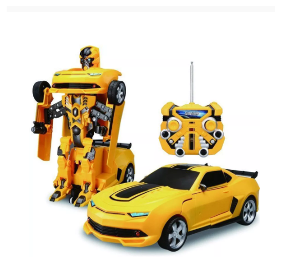New 2 in 1 Rechargeable Remote Control Robot Yellow Bee Transformation Car...