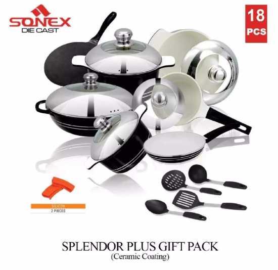 SONEX Splendor Plus Gift Pack Cookware Set with Steel Lid - 18 Pieces -...