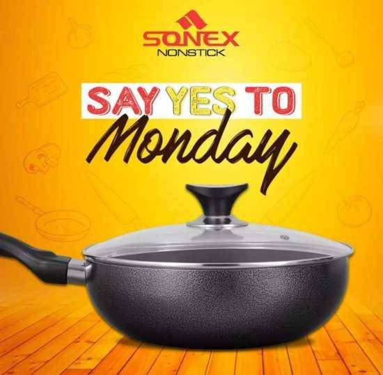 Sonex Classic Wok with Glass Lid - Non Stick Coating - Black