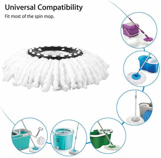 Spin Mop Head Replacement, Microfiber Refill Heads Universal for 360 Spin...
