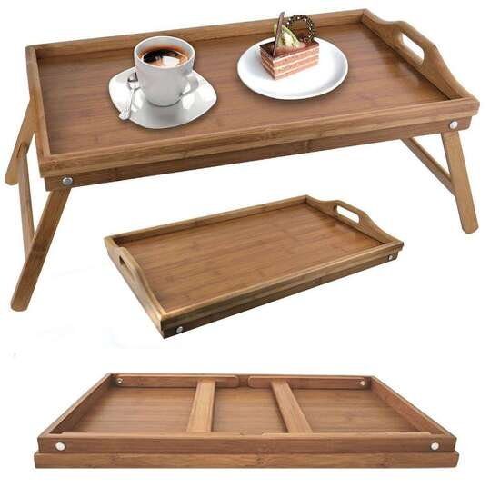 Wooden Folding Bed Tray - Brown with tray