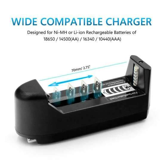 Universal Single Cell 3.7 V Lithium-ion Battery Charger for 18650 16340 14500...