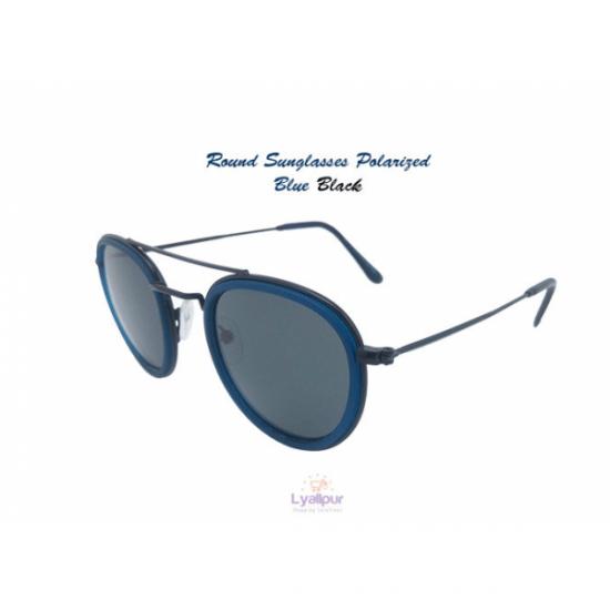 Round Sunglasses Polarized Blue Black