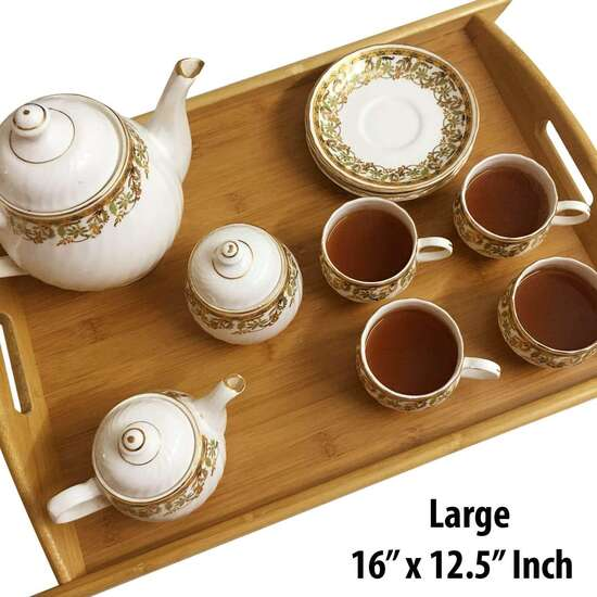 Set of 3 Bamboo Wooden Multipurpose Tray