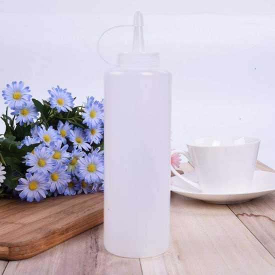 5PCS Plastic Squeeze Condiment Dispenser Sauce Ketchup Cruet Oil Bottles 8oz