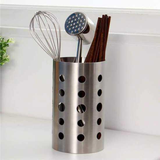 Stainless Steel Utensil Holder- Kitchen Tools Organizer - Chopsticks Tube...