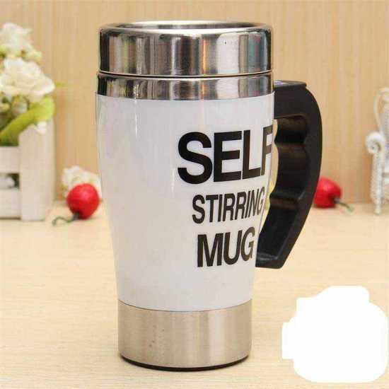 New Stylish Stainless Steel Lazy Self Stirring Mug