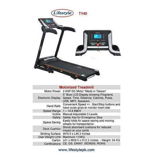 Lifestle T140 Treadmill Best Quality