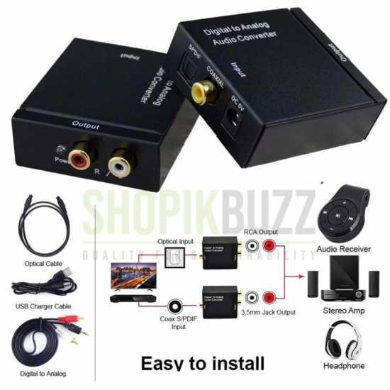 3.5mm Digital Coax Optical SPDIF Toslink to Analog RCA Audio Adapter Converter