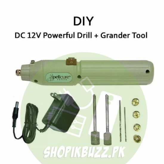 DIY 12v DC Power Mini Drill + Grander Kit with Power Adapter