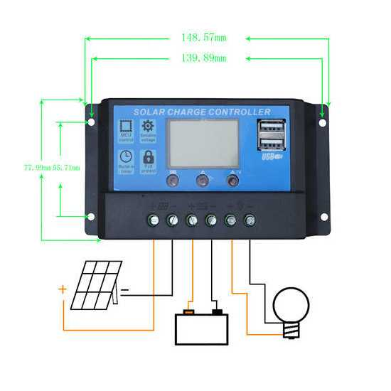 PWM Solar Charge Controller, Dc 12v/24v 10A/20A
