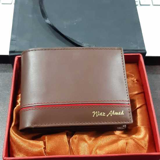 Customize name engraving leather wallet for men with box packing
