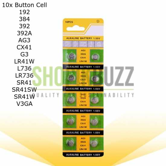New Pack of 10x 1.55V AG3 CX41 LR41W 392A Lithium Button Battery Coin Cell