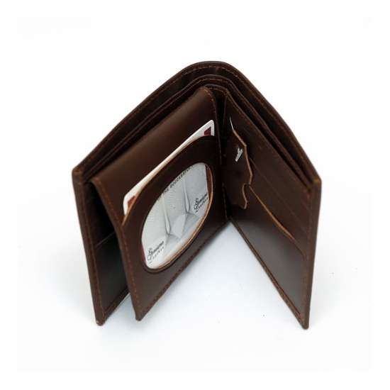 Customize name on men leather wallet and keychain with gift box packing...